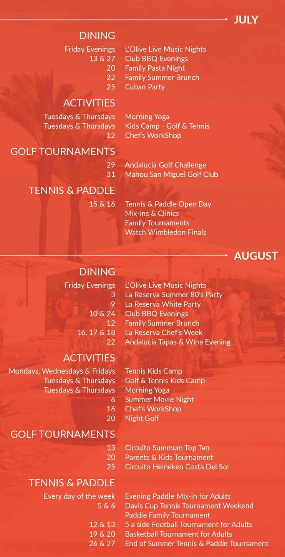 La Reserva Summer Calendar of Activities